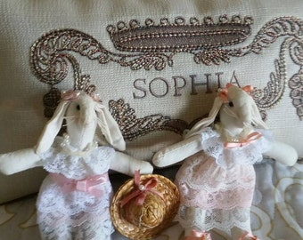 Vintage Victorian rabbit doll set