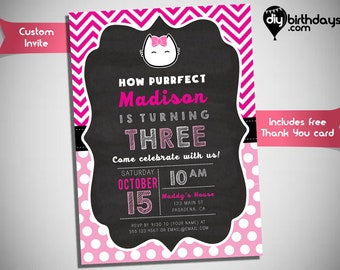 Kitty Kat Invitation - Fun and cute birthday invitation with a Kitty Kat design - Inspired by Hello Kitty Invitation - HK010