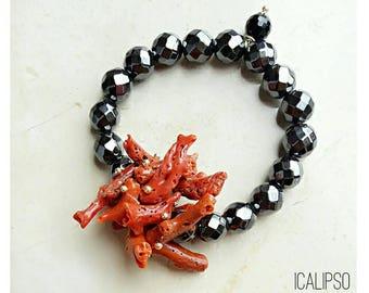 Coral bracelet, beach jewelry, gemstone bracelet, unique jewelry gift for women, wife bracelet gift, boho jewelry for wife statement jewelry