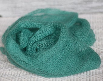 Green Teal Mohair Knitted Wrap, New Born Mohair Prop, Knitted Wrap