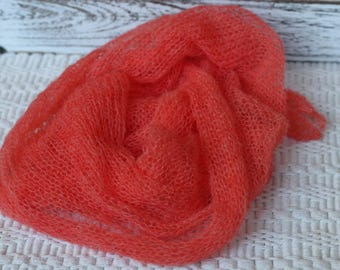 Delicate Knitted Mohair Wrap, New Born Orange Wrap