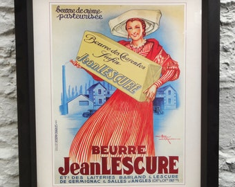 Framed vintage French Butter Poster