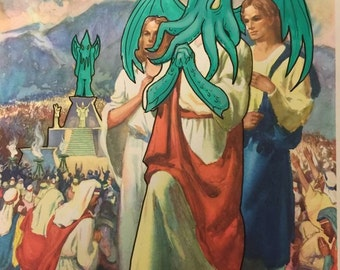 Chthulu jesus reigns over the populace lithograph digital art print