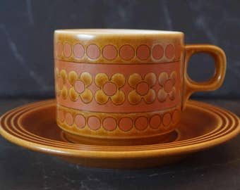 Set of 4 Saffron Hornsea Tea Coffee Cups and Saucers
