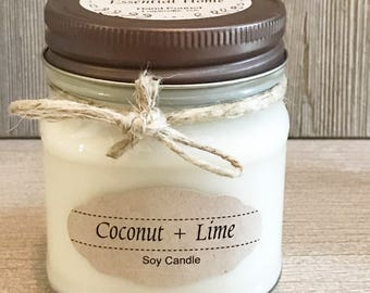 Coconut + Lime Candle / Soy Candle /  Aromatherapy Candle