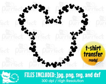 Mickey Heads Monogram SVG, Mickey Monogram Outline SVG, Disney Digital Cut Files in svg, dxf, png and jpg, Printable Clipart