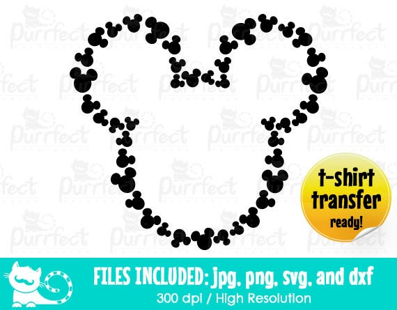 Mickey Heads Monogram Svg Mickey Monogram Outline Svg Disney
