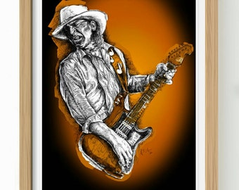 Stevie Ray Vaughan unframed print from original Pen and Ink edition artwork with or without text (see pics)