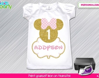 Pink and Gold Minnie Mouse Birthday Girl  Print Yourself Iron on Transfer