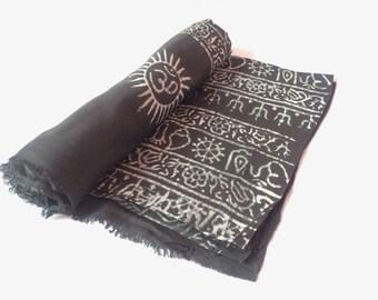 Black Color OM Prayer Cotton Shawl For Yoga and Meditation