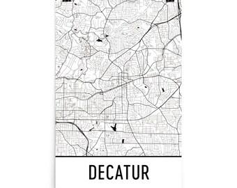 Decatur Map, Decatur GA Art, Decatur Print, Decatur Georgia Poster, Decatur Wall Art, Map of Decatur GA, Decatur Gift, Decatur Decor, Map