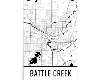 Battle Creek Map, Battle Creek Art, Battle Creek Print, Battle Creek MI Poster, Battle Creek Wall Art, Map of Battle Creek, Gift, Decor, Map