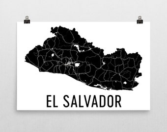 El Salvador Map, El Salvador Art, El Salvador Gifts, El Salvador Wall Art, Map of El Salvador, El Salvador Decor, El Salvador Print, Poster