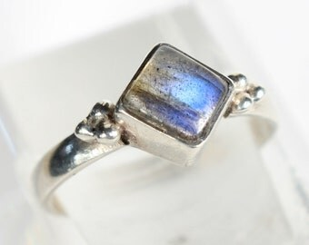 Rainbow Moonstone Ring Sterling Silver Tiny Ring Small Gift for Her Birthday
