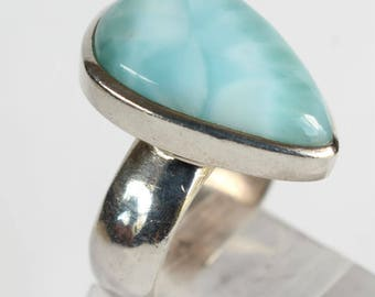 Larimar Ring Sterling Silver Teardrop shaped Dominican Republic
