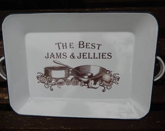 Old Enamel Tray The Best Jams and Jellies, Handles,Tray, Serving Tray, Kitchen Tray, Parties,  Country Cottage