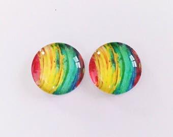 The 'Rainbow' Glass Earring Studs
