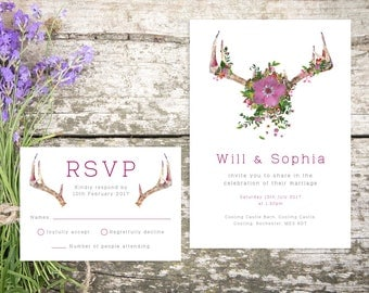 Printable Wedding Invitation/ RSVP/ Save the date/ Thankyou card/ PDF/ Download/ Custom/ Watercolour/ Rustic/ Sophia suite #010
