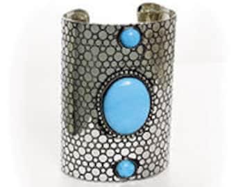 Silver Empress Cuff: Turquoise Stone