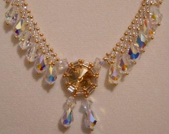 Swarovski Crystal and Rivoli Necklace w/ Gold Plated Clasp