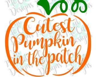 SVG DXF PNG cut file cricut silhouette cameo scrap booking Cutest Pumpkin In The Patch