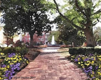 ECU Fountain Watercolor~East Carolina Painting~ECU Pirates Watercolor~ECU graduation gift~East Carolina University~Watercolor Portrait