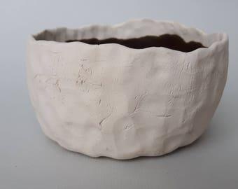 Ceramic bowl, pottery bowl, white clay bowl, handmade bowl.