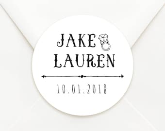 Personalised Circle Wedding Bomboniere Sticker Labels - Choice of Kraft or Matte White Paper - CD7