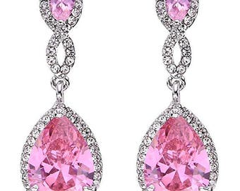 Pink Bridesmaids Earrings, Wedding Jewelry, Bridal Drop Earrings, Crystal Wedding Earrings, Swarovski Crystal Earrings,