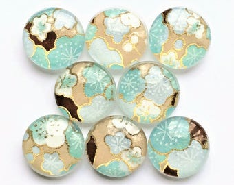 Glass Fridge Magnets in Decorative Tin   Set of 8   Teal + Khaki   Super Strong   Glass Magnets   Japanese Paper   Mother's Day Gift