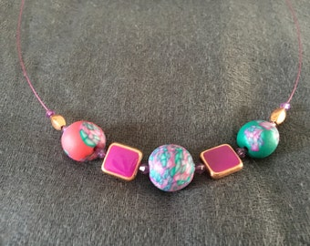 Green, red and purple wire necklace