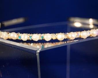 Bridal Tiara with pearls and swarovski crystals