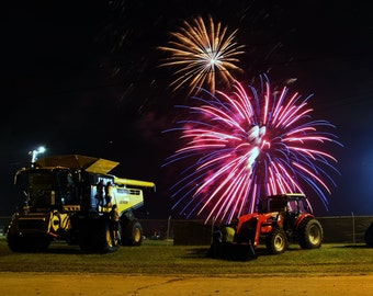 Fireworks Tractor Combine County Fair Photograph Print
