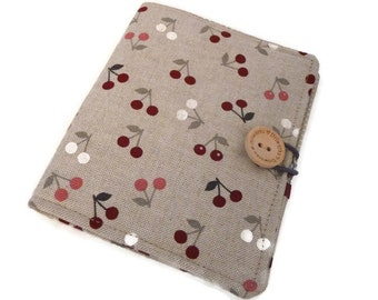 Notepad holder, List taker, Notebook Planner, To do List, Grocery List, fabric stationery, Portfolio, A6 note pad cover, cherries
