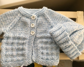 Baby Sweater & Hat - newborn size, baby blue / white
