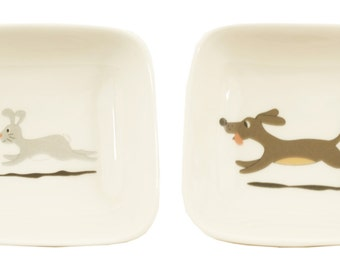 little dog and rabbit dishes