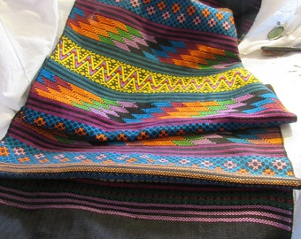 hand woven runner, Central America, cotton, colorful, decor, shawl, excellent condition, accent piece, Latin America,handcraft, folk art