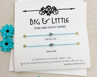 Big Little Sorority, Big Little Bracelet, Big Sorority Gift Set Sorority Sister Wish Bracelet Big Little Sister Bracelet Big And Little