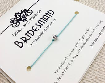 Will You Be My Bridesmaid Proposal Bridesmaid Card Wish Bracelet Bridesmaid Ask Gift  Bridesmaid Gift Bridesmaid Bracelet Bridesmaid Gifts