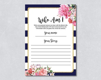 Who am I game / Nautical bridal shower game / Navy blue / Floral / Gold Glitter / DIY Printable / INSTANT DOWNLOAD