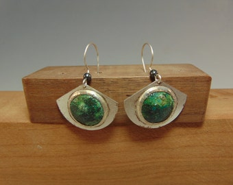 Sterling Silver Earrings with Copper Patina #2