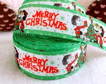 """3 yards 1"""" Merry Christmas ribbon holiday ribbon hair bow ribbon Christmas ribbon gift wrapping ribbon grosgrain ribbon 1inch ribbon"""