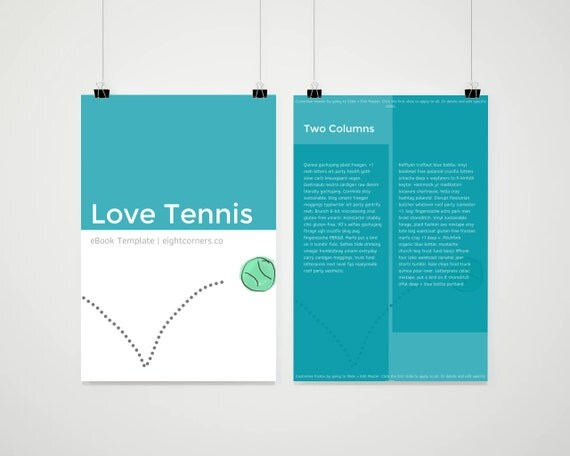 eBook Template | Tennis Sporty | Customizable eBook Template | Google Docs / Windows Word DOCX / Mac Pages / A4 / Letter Available