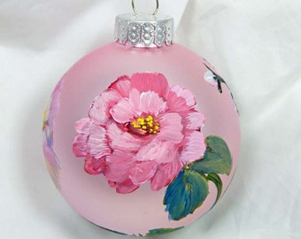 Rose Ornament. Hand Painted Ornament. Glass Ornament. Valentines Day. Painted Glass Ornament.