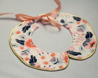 Free Domestic Shipping! Girls Detachable Collar Peter Pan Collar Necklace Navy and Peach Floral Print