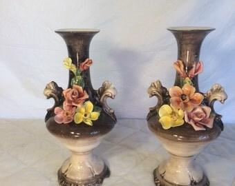 Pair of Capodimonte Vases, Capodimonte Vase, Italian Porcelain, Italian Vase, Floral Vase, Home Decor, Fine Ceramic Decor, Collectible Vase