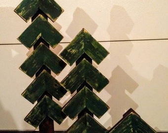 Set of three primitive fir trees