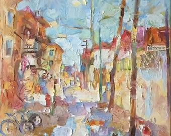 Original oil painting, street of Montreal, Rue Ducharne, 3 cats