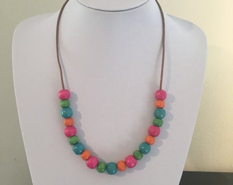 Bright multicoloured wooden beaded necklace