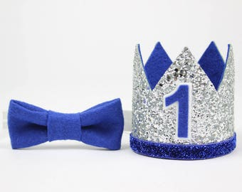 First Birthday Outfit Boy Crown | Baby Boy Birthday Party Hat | First Birthday Glitter Crown | 1st Birthday Hat | SIlver + Royal Blue 1